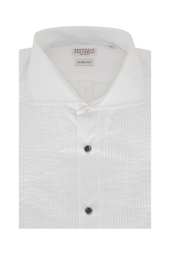 Brunello Cucinelli White Pleated Slim Fit Tuxedo Shirt