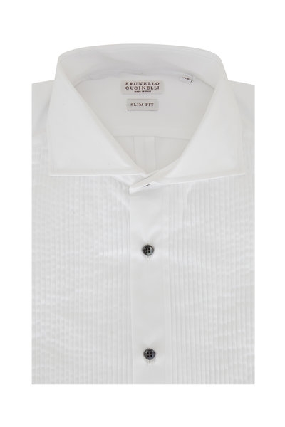Brunello Cucinelli - White Pleated Slim Fit Tuxedo Shirt