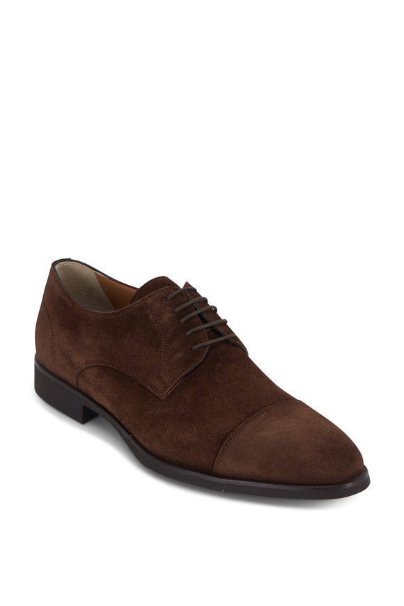 Di Bianco Mustang Dark Brown Suede Cap-Toe Derby Shoe