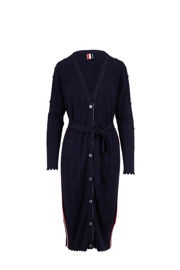 Thom Browne Navy Blue Fine Merino Wool Belted Cardigan