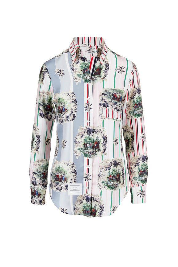 Thom Browne Classic Light Pink Funmix Print Button Down Shirt