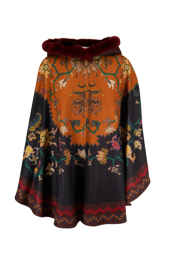 Etro Multicolor Cashmere Aztec Floral Fur Hooded Cape