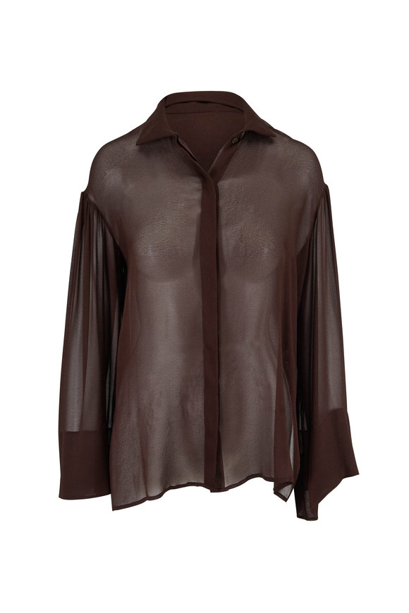 The Row Sarabeth Espresso Sheer Sleeve Blouse