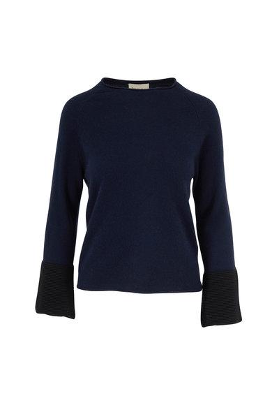 Jumper 1234 - Navy & Black Cashmere Trumpet Sleeve Sweater