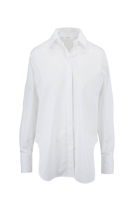 The Row Pedro White Cotton Poplin Long Blouse