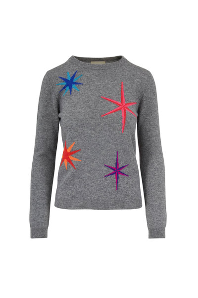 Jumper 1234 - Medium Gray Cashmere Star Crewneck Sweater