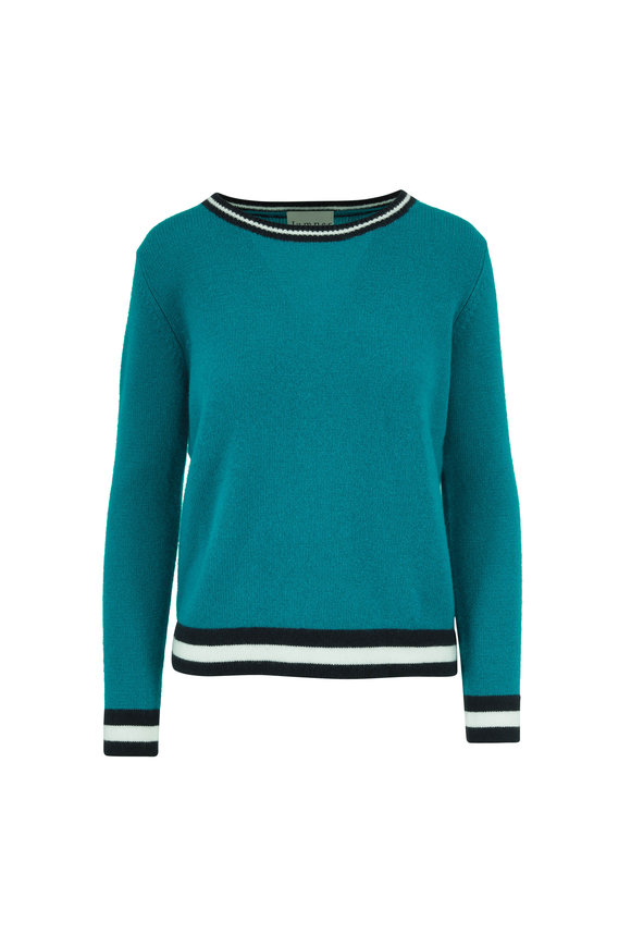Jumper 1234 Teal Cashmere Striped Trim Sweater