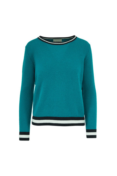 Jumper 1234 - Teal Cashmere Striped Trim Sweater