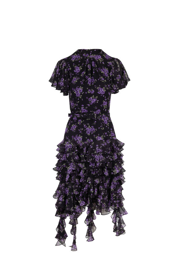 Michael Kors Collection Black Dahlia Floral Short Flutter Sleeve Dress
