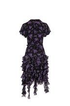 Michael Kors Collection - Black Dahlia Floral Short Flutter Sleeve Dress