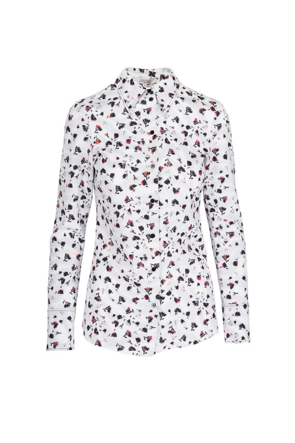 Dorothee Schumacher Escape White Multicolor Floral Print Blouse