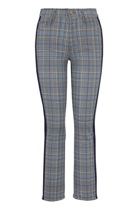 Mother Denim The Insider Gray Plaid Side Stripe Ankle Jean