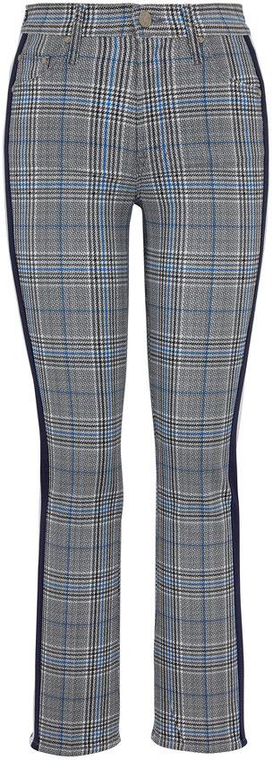 Mother Denim The Insider Gray Plaid Side Stripe Ankle Jean