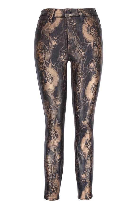 L'Agence Margot Black & Gold Animal Foil High-Rise Jean