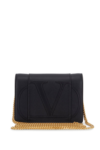 Valentino Garavani - VLOGO Black Leather Mini Crossbody Bag