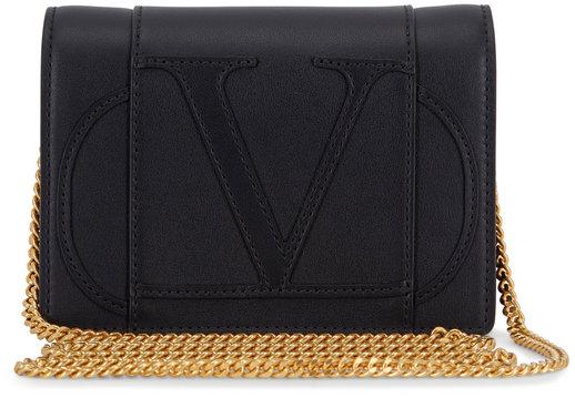 Valentino Garavani VLOGO Black Leather Mini Crossbody Bag