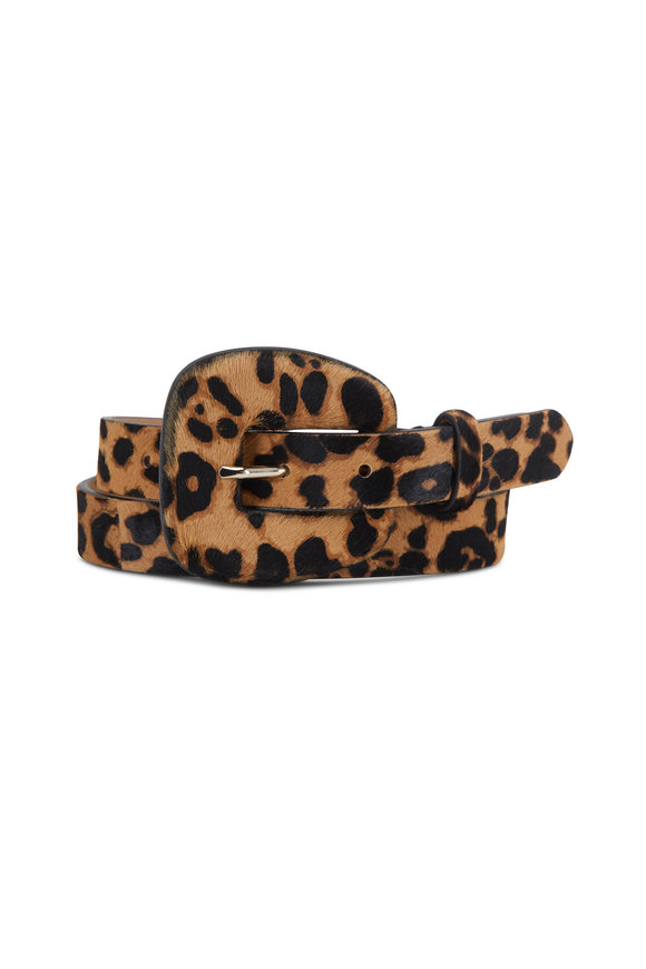 Veronica Beard Elsy Leopard Print Calf Hair Belt