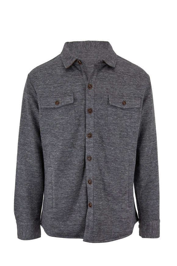 Peter Millar Dark Gray Cotton & Linen Overshirt