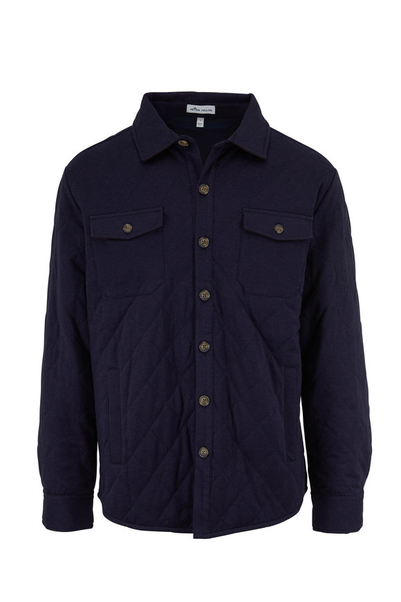 Peter Millar Navy Stretch Cotton & Cashmere Shirt Jacket