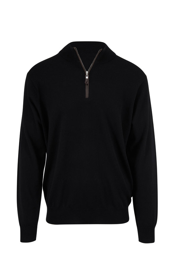 Peter Millar Crown Soft Black Leather Trim Quarter-Zip Pullover