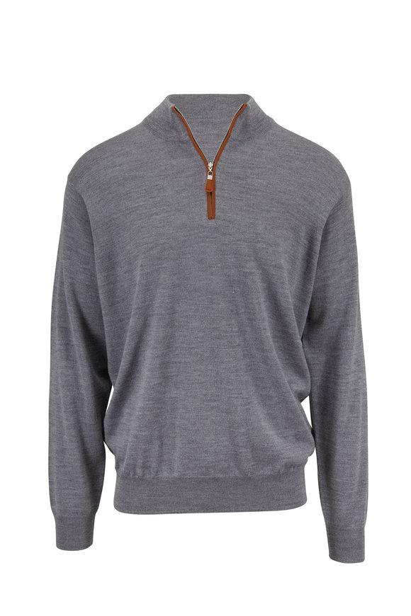 Peter Millar Gray Suede Trim Quarter-Zip Wool & Silk Pullover