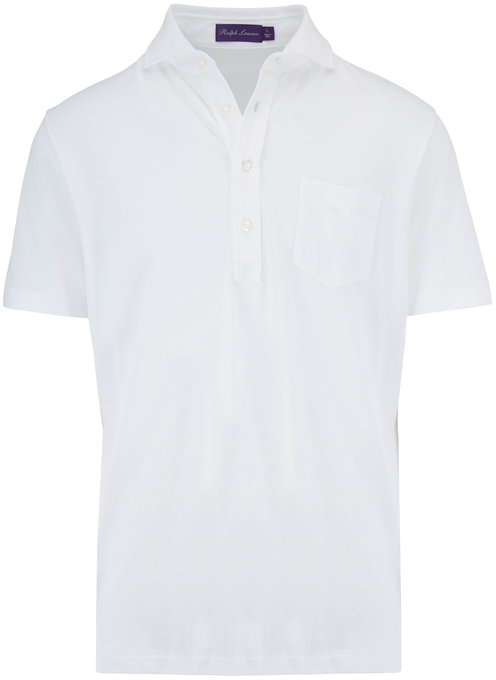 Ralph Lauren Classic White Short Sleeve Piqué Polo
