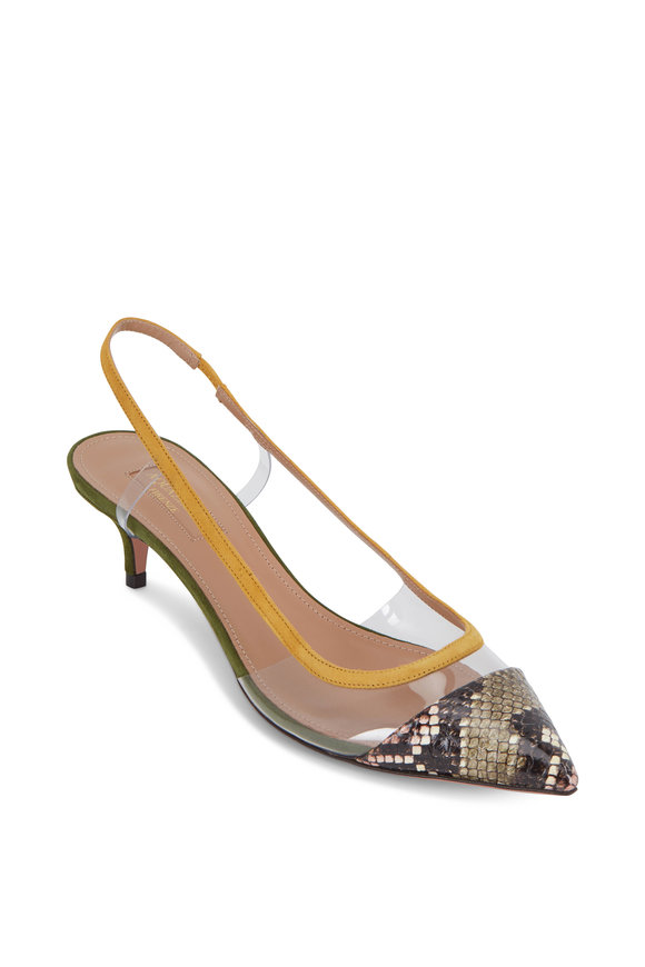 Aquazzura Temptation Snakeskin & Green Suede Slingback, 45mm