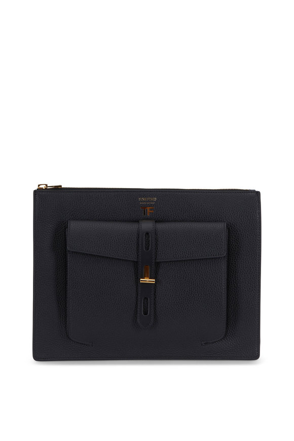 Tom Ford Black Rialto Grain Leather Zip Pouch