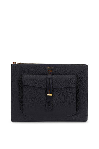 Tom Ford - Black Rialto Grain Leather Zip Pouch