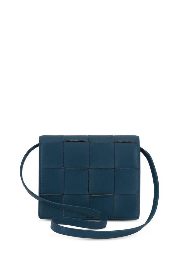 Bottega Veneta Cassette Petrol Leather Mini Crossbody Bag