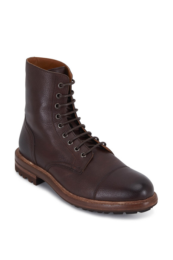 Brunello Cucinelli Dark Brown Grained Leather Lace-Up Boot