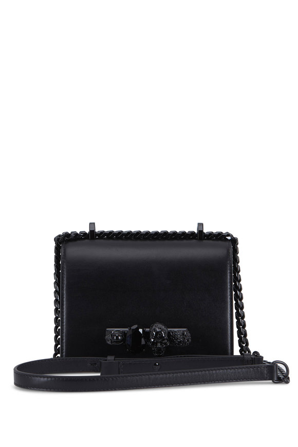 Alexander McQueen Black Leather Jeweled Knuckle Small Shoulder Bag