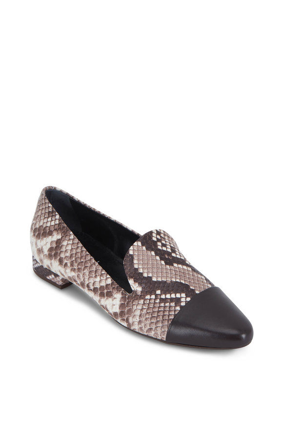 AGL Natural Snakeskin & Leather Cap-Toe Loafer
