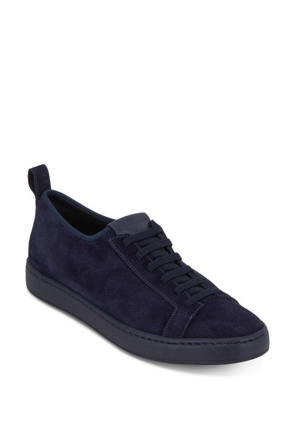 Santoni Mantis Navy Blue Suede Elasticized Lace Sneaker