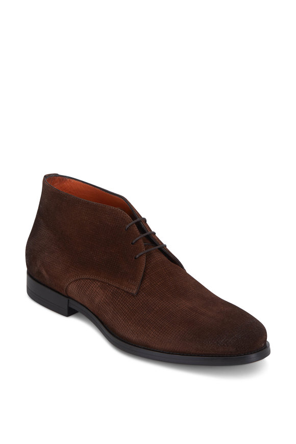 Santoni Dark Brown Suede Ankle Chukka Boot