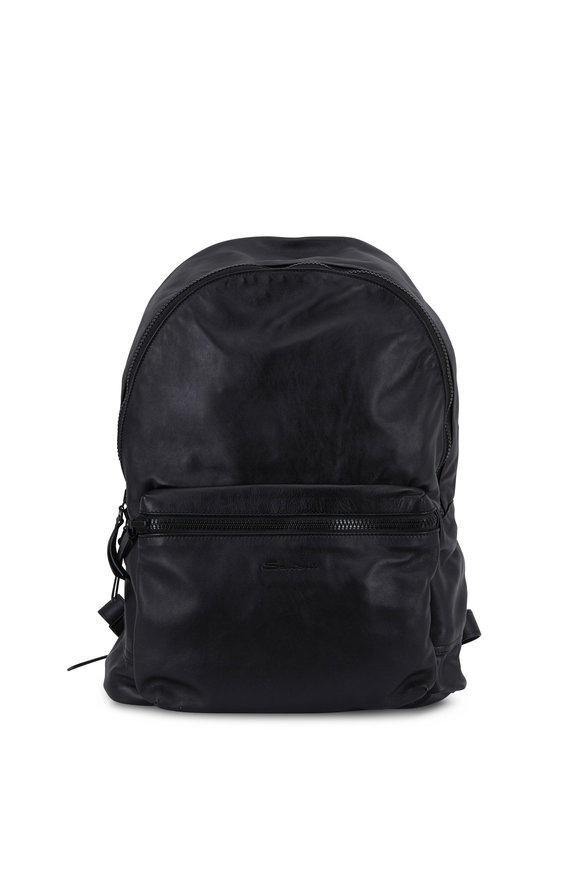 Santoni Black Leather Packable Backpack