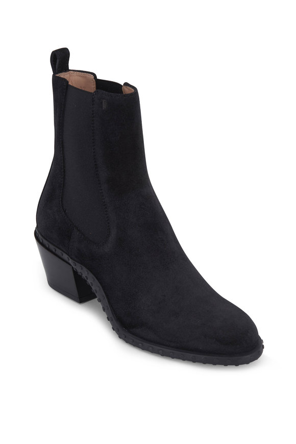 Tod's Gomma Black Suede Bootie, 50mm
