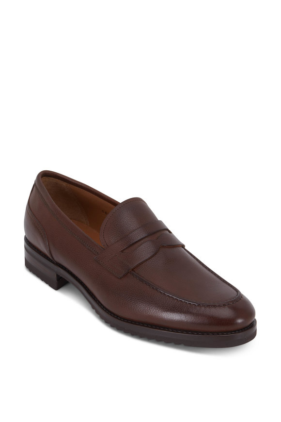 Gravati Brown Grained Leather Penny Loafer