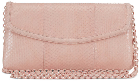 Nancy Gonzalez Tracy Nude Snakeskin Clutch