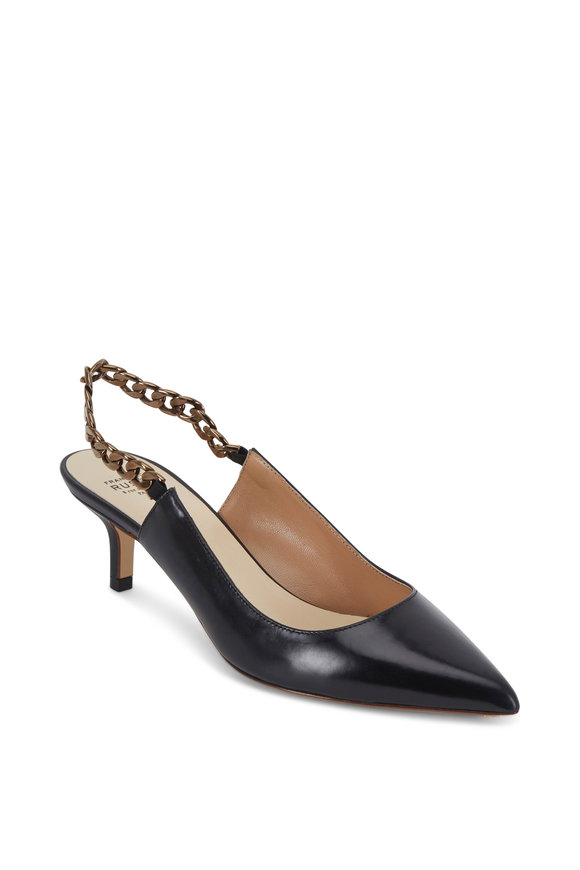 Francesco Russo  Black Leather Chain Slingback, 50mm