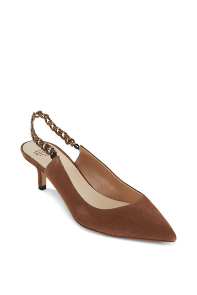 Francesco Russo - Crust Cigar Suede Chain Slingback, 50mm