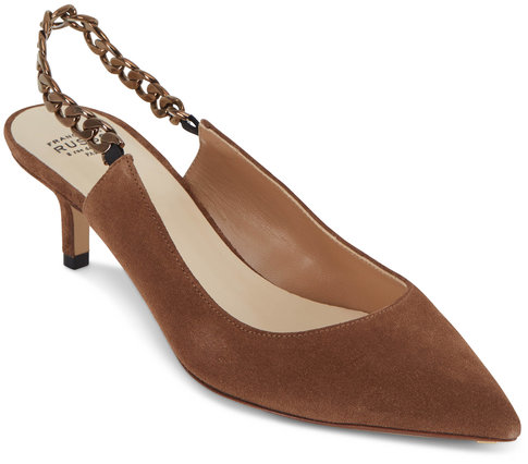 Francesco Russo  Crust Cigar Suede Chain Slingback, 50mm