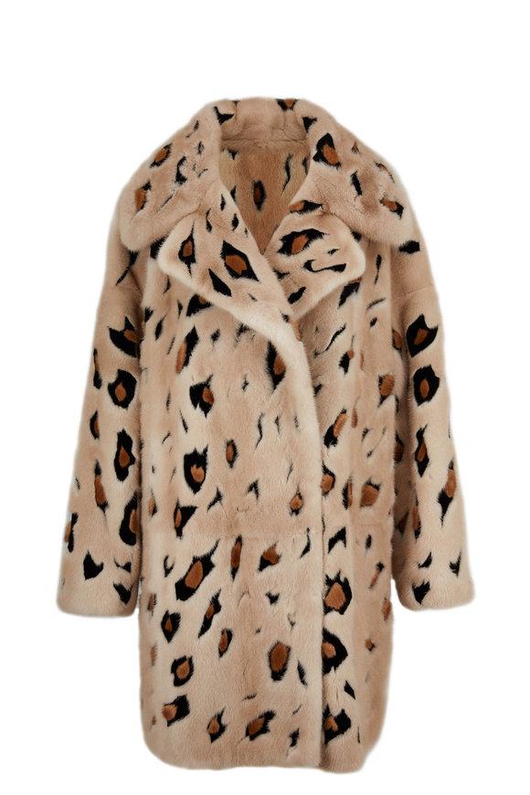 Oscar de la Renta Furs Natural Palomino Mink Cheetah Intarsia Coat