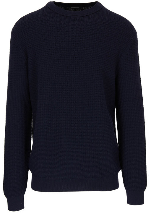 Ermenegildo Zegna Navy Waffle Knit Crewneck Sweater