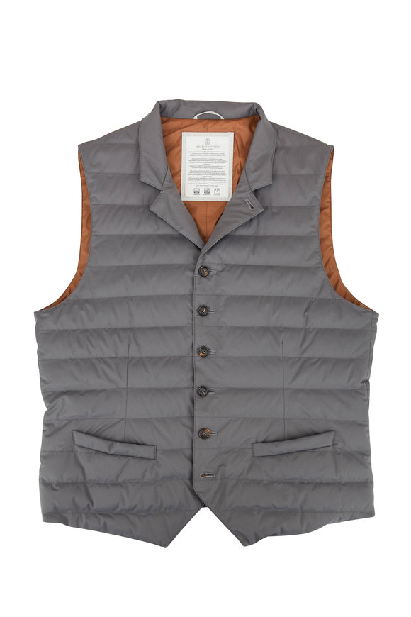 Brunello Cucinelli Gray Button Front Quilted Vest