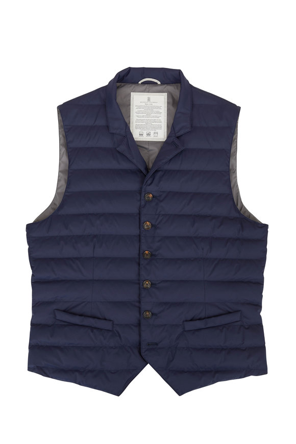 Brunello Cucinelli Navy Button Front Quilted Vest