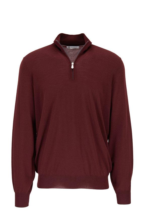 Brunello Cucinelli Burgundy Wool & Cashmere Quarter-Zip Pullover