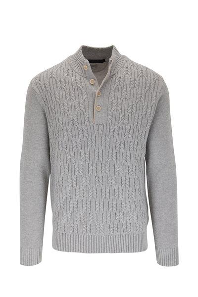 Raffi - Light Gray Cable Knit Quarter-Button Pullover