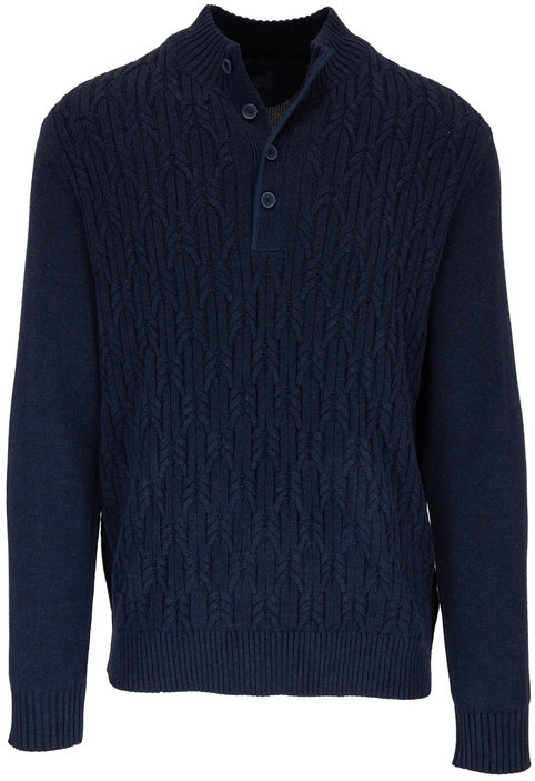 Raffi  Midnight Cable Knit Quarter-Button Pullover