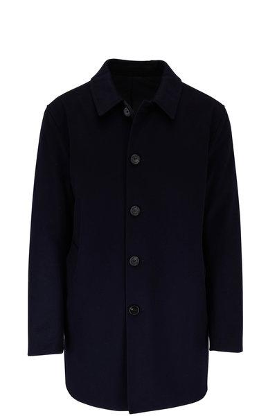 Maurizio Baldassari - Navy Wool & Nylon Reversible Raincoat